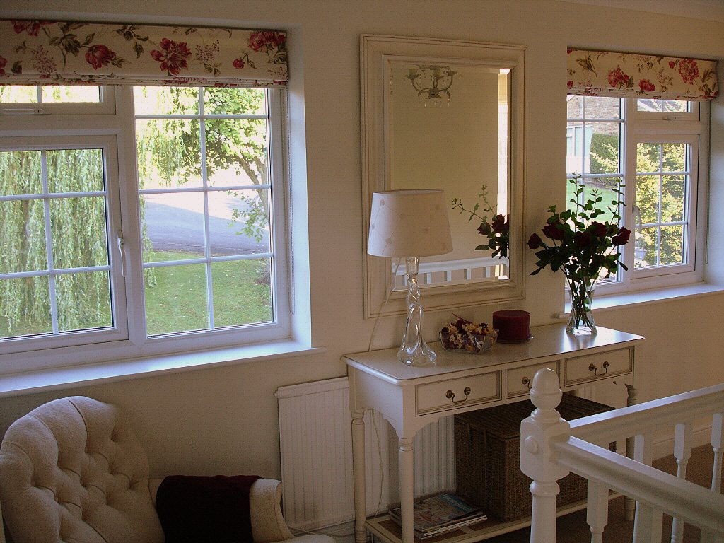 Roman blinds on a landing - please look in the client gallery to see these lovely blinds down.